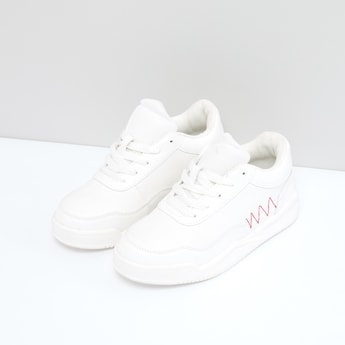 Striped and Textured Lace-Up Shoes with Stitch Detail