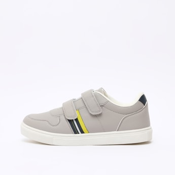 Stripe Detail Sports Shoes with Hook and Loop Closure