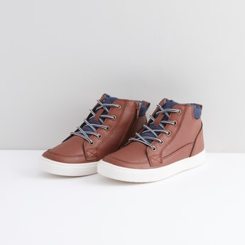 Stitch Detail High Top Shoes with Zip Detail
