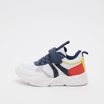 Colourblock Sports Shoes with Hook and Loop Closure