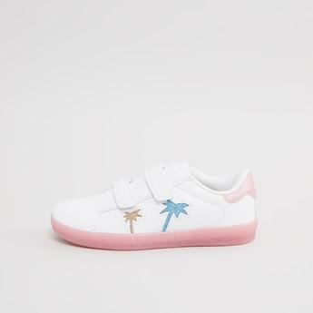 Embellished Slip-On Sneakers with Hook and Loop Closure