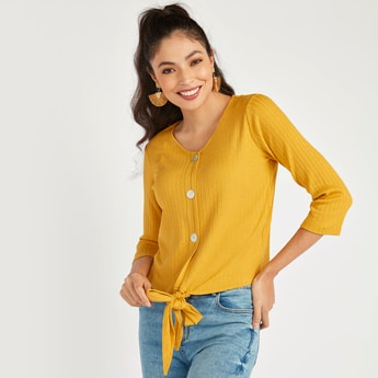 Textured Top with Tie Ups and 3/4 Sleeves