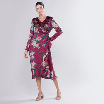Printed Asymmetric Midi Wrap Dress with Long Sleeves