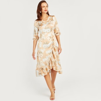 Printed Midi Dress with 3/4 Sleeves and Asymmetric Hem