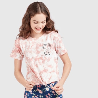 Printed Tie and Dye Round Neck T-shirt with Short Sleeves