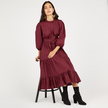 Solid Tiered Midi Dress with Belt and 3/4 Sleeves
