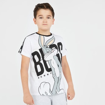 Bugs Bunny Print T-shirt with Short Sleeves