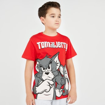 Tom and Jerry Print T-shirt with Short Sleeves