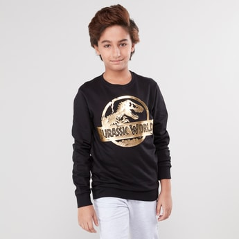 Jurassic Park Printed Round Neck Sweatshirt with Long Sleeves