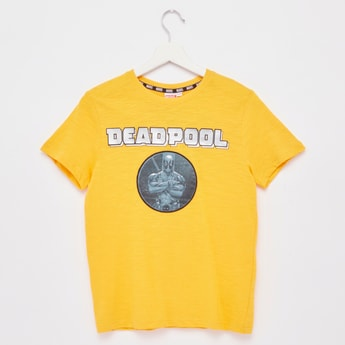 Deadpool Print T-shirt with Round Neck and Short Sleeves