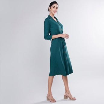فستان قميص سادة إيه لاين متوسط الطول بأكمام 3/4 وأربطة