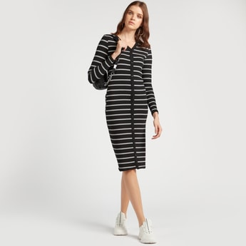 Striped V-neck Midi Bodycon Dress with Long Sleeves