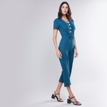 Ribbed V-Neck Jumpsuit with Short Sleeves