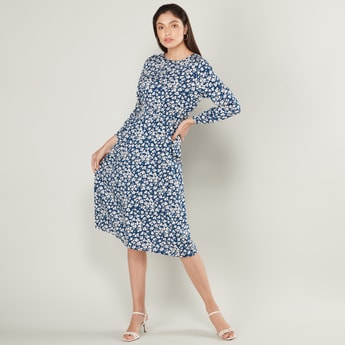 Floral Print Midi A-line Dress with 3/4 Sleeves