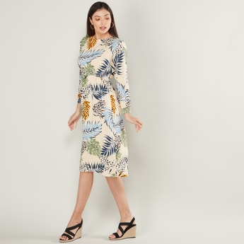 Floral Print Midi Shift Dress with Long Sleeves