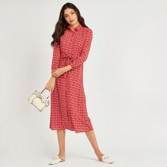 فستان قميص إيه لاين ميدي بأكمام طويلة وأربطة وطبعات