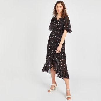 Floral Print Midi Wrap Dress with Flared Sleeves and Asymmetric Hem