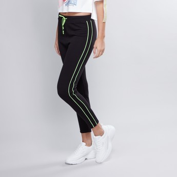 Plain Mid Waist Jog Pants with Elasticised Waistband
