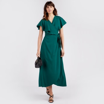 Solid V-neck Maxi Wrap Dress with Overlay Panel