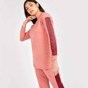 Solid Sweat Top with Colour Block Tape Detail and Long Sleeves