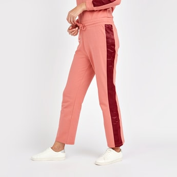 Colour Block Mid-Rise Pants with Elasticised Waistband