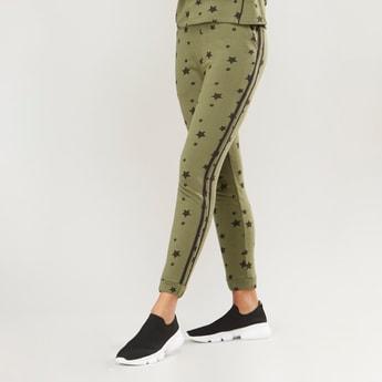 Star Print Jog Pants with Pocket Detail