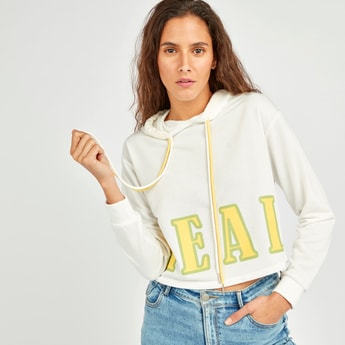 Typographic Print Crop Sweat Top with Long Sleeves and Hood