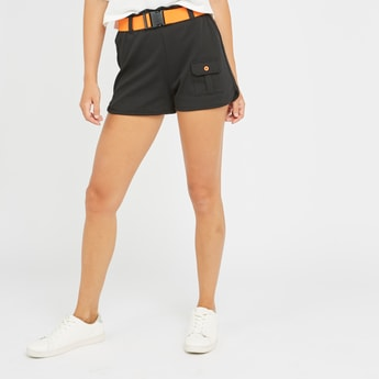 Solid Mid-Rise Shorts with Buckle Closure Belt