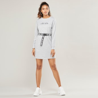 Text Print Mini Shift Dress with Long Sleeves and Belt