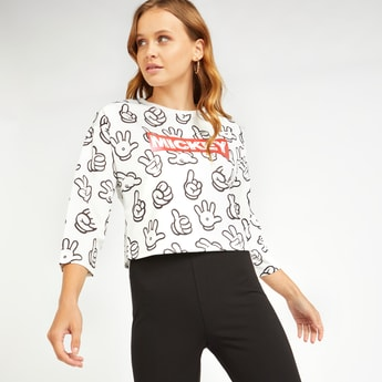 Mickey Mouse Print Boxy Top with Round Neck and 3/4 Sleeves