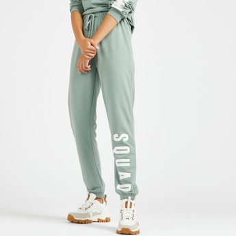 Full Length Text Print Joggers with Elasticated Drawstring Waist