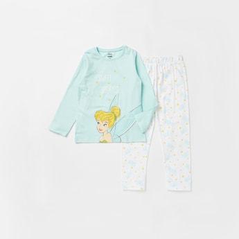 Disney Princess Print Round Neck T-shirt and Full Length Pyjama Set