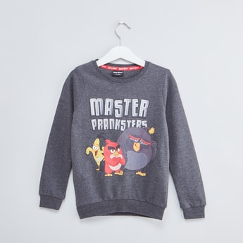 Angry Birds Printed Sweatshirt with Round Neck and Long Sleeves