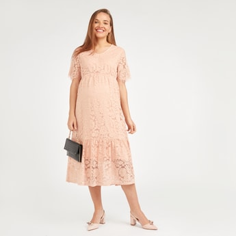 Lace Midi A-line Maternity Dress with V-neck and Short Sleeves