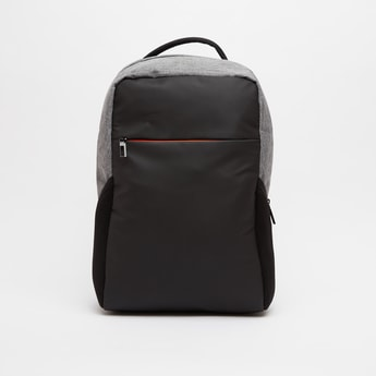 Solid Laptop Backpack with Zip Closure