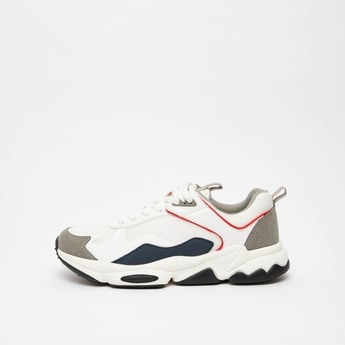 Colour Block Lace-Up Sports Shoes with Pull Tab