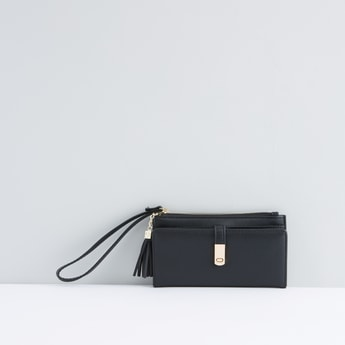 Bi-Fold Wallet with Tassel Detail and Zip Closure