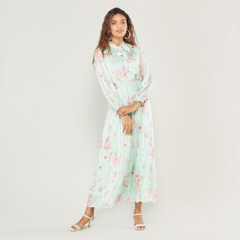 Floral Print Maxi Pleated Tie Neck Dress with Cuffed Sleeves