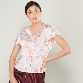 Floral Print Peplum Top with V-neck and Cap Sleeves