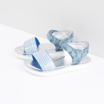 Glitter Sandals with Hook and Loop Closure