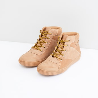 Textured High Top Shoes with Pull Tab