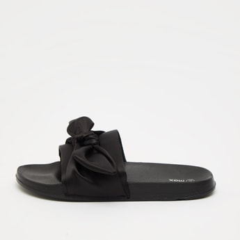 Solid Slides with Knot Detail Vamp Band