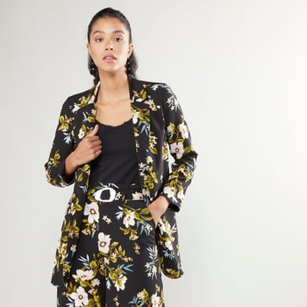 Floral Printed Blazer Jacket with Notched Lapel and Long Sleeves