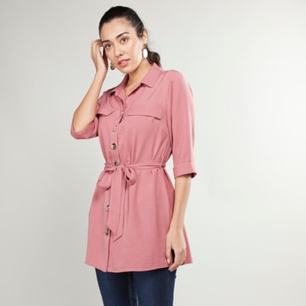 Solid Collared Tunic Top with Belt