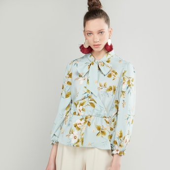 Floral Printed Kitty Bow Top with Lantern Sleeves