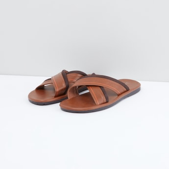 Textured Criss-Cross Strapped Chappals with Slip-On Closure