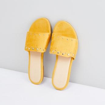 Embellished Slip-On Sandals with Vamp Band