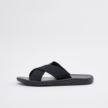 Slip-On Sandals with Textured Straps