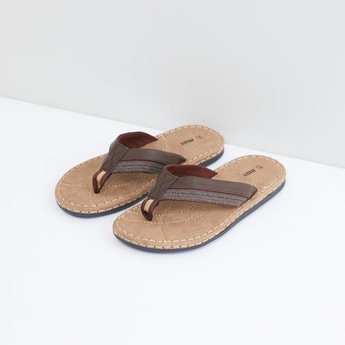 Textured Flip Flops with Stitch Detail