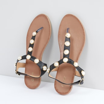 Pearl Detail Sandals with Pin Buckle Closure